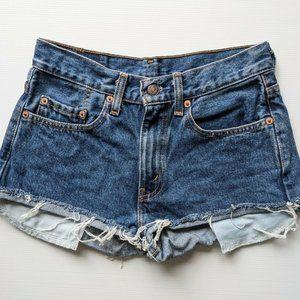 Levi Levis Strauss Mini Denim Shorts w Distressed Hem & Exposed Pockets Sz 6-8